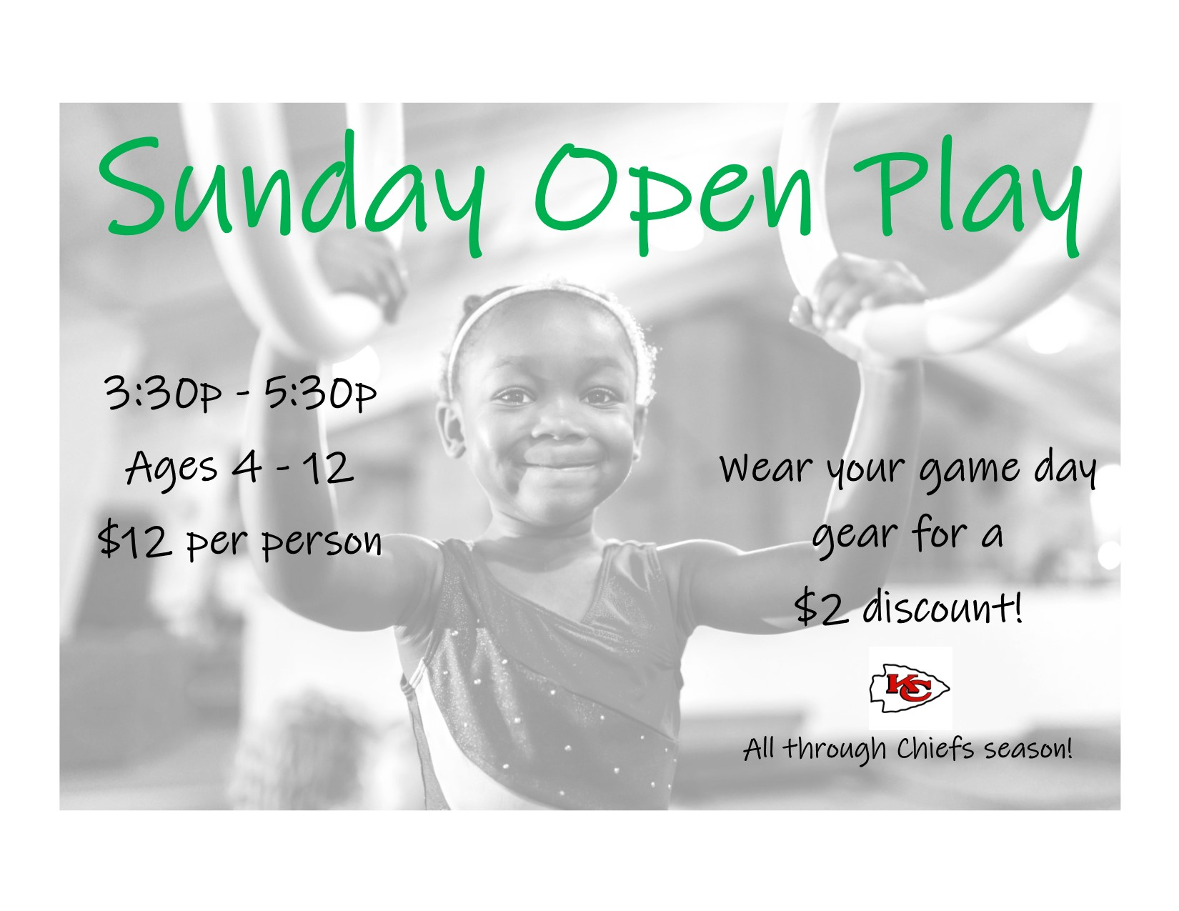 Sunday Open Play Chiefs Gear Promo